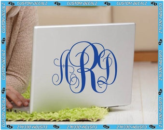 Classic Monogram Style  Vinyl Decal / Laptop Decal / Cell Phone Decal / Cell Phone Sticker / Tablet Decal / Sticker / Initials / Girl Decal