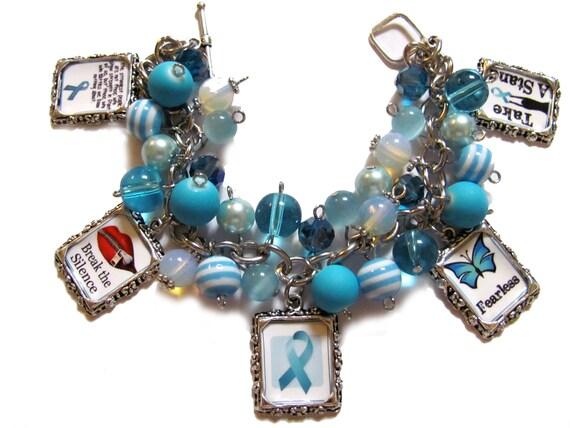 Sexual Assault Awareness Altered Art Charm Bracelet Teal Beads