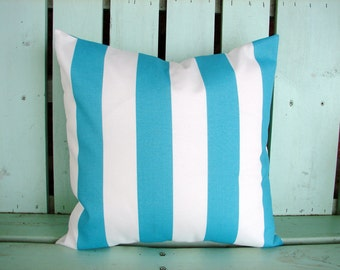new 16x16 ocean blue and white striped outdoor/indoor fabric Premier print, decorative pillow cover-gifts under 40-throw pillow