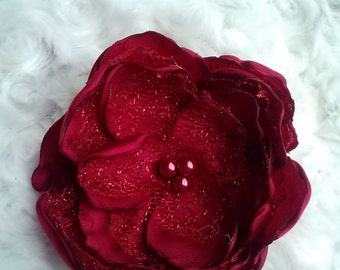 Crimson delight satin and woven mesh lace flower, deep red wedding accessory/photography prop, handmade crimson red fascinator