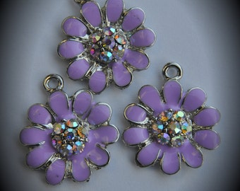 20mm Genuine Silver Plated Swarovski Crystal Flowers Charms Pendants With Enamel