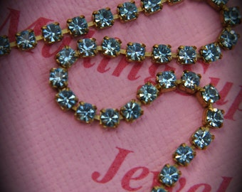 Genuine Brass Swarovski Crystal Rhinestone chain in 18pp Aquamarine