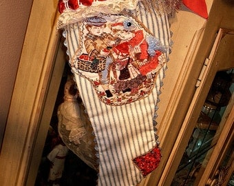 Vintage Victorian Christmas Stocking Beaded One Of A Kind Child's