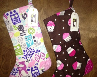 Sale - READY TO SHIP- Girl Stocking (Woodland or Cupcake)