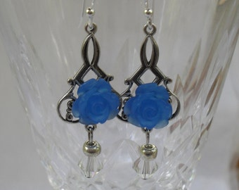 Vintage Style Blue Rose Earrings Women, Bridesmaids