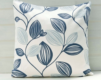 Cushion Cover Blue and White Leaves - Made in UK - Size 18ins
