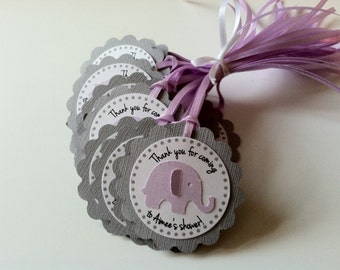 20 Grey Scallop with Lavender Elephant Personalized Tags.  Perfect for Baby showers or birthday parties