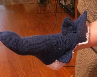 Shark Sock Knit Pattern Women Size 6-9 US Shoe