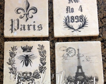 Tumbled Marble Coasters Vintage French Graphics or any graphic of your choice