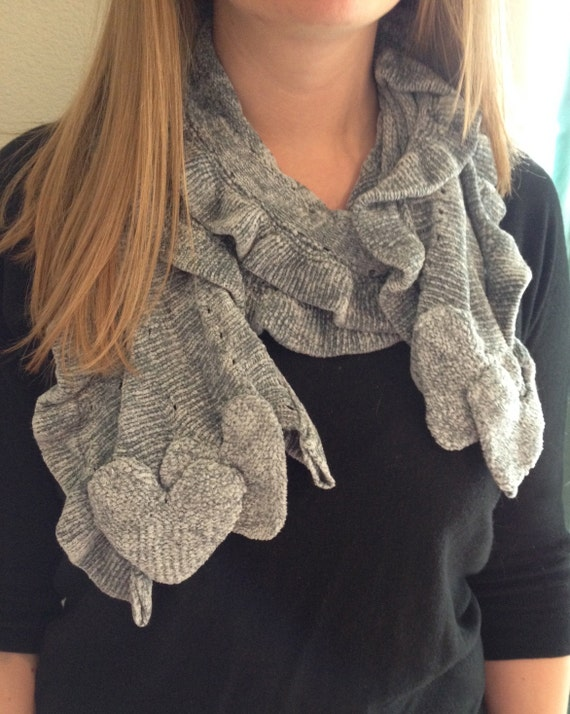 Chenille Grey Knit Ruffled Scarf with Hearts by AshHopeStudio