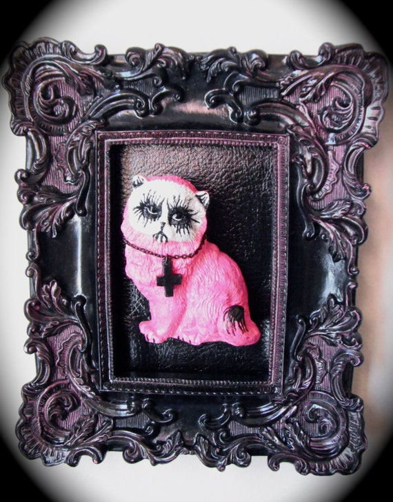 hot pink corpse paint wall mounted black metal evil cat wall