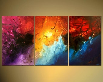 """Modern Abstract Painting, Original Artwork on Canvas by Osnat - MADE-TO-ORDER - 72""""x36"""""""