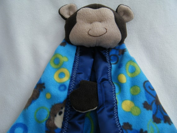 Cute Monkey Security Blanket - Blanket Buddie - HANDMADE BY ME