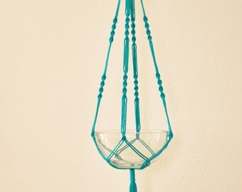 """Hand Crafted Macrame Plant Hanger- Turquoise 42""""-45"""" (Available in all colors)"""