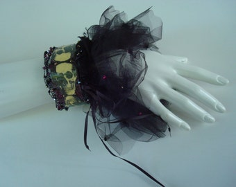 Skull Bracelet with matching Ballerina Bracelet Crocheted Wire & Swarovski Crystal Trim  Tiara Ruff Tulle recycled