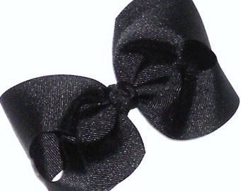 "Black Hair Bow Black Bow Baby Bow Black Medium 4"" Twisted Boutique Hair Bow Toddler Girls Hair Bow Classic Black Bow School Bow Uniform Bow"