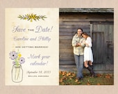 Rustic Wildflowers Photo Save the Date Postcard Printable
