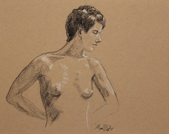 """Life Drawing Figure Study Female Nude Pastel  8X10"""" Matted 11X14"""" No.131"""