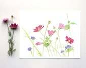 Wildflowers Watercolor Painting - Wildflower Print, Flower Print, Summer, Garden, Pink Flowers, Cosmos, Pastel, Pink, Green - trowelandpaintbrush