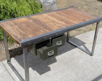 5 ft Industrial Office Desk with Raw Steel Rectangular Legs