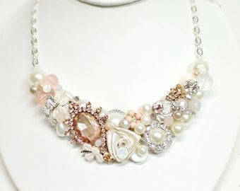 Rose Gold Bridal Bib- Rose gold Necklace- Champagne Pink Necklace-Rose Gold Bib-Rose Gold Wedding Bib-Vintage Inspired Necklace-Brass Boheme