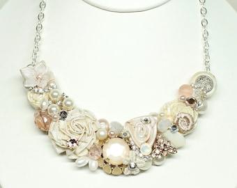 Blush Bib Necklace-Blush & Ivory Wedding Necklace- Champagne Pink Necklace- Blush Necklace-Blush Bridal Jewelry-Blush Statement Bib-Nude Bib
