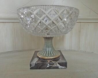 Vintage Cut Crystal Bowl Crystal Pedestal Bowl Glass and Marble Pedestal Bowl