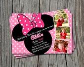 Custom Photo Pink Polka Dot Mickey & Minnie Mouse Inspired Birthday Party Invitation Card   - Any Color