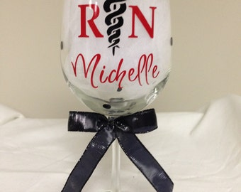 Nurse RN Wine Glass - Personalized
