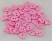 50 Pink Heart Buttons for Sewing and Crafts, size 14mm (9/16 inch), with gift wrap, BULK BUTTONS