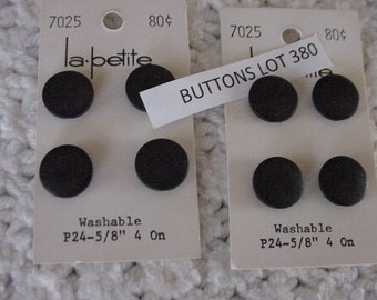 8 Vintage Plastic Black Buttons, Shanks, 2  La Petite Original Card, Lot 380, Sewing, Crafting, Collectible