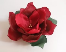 Red fabric flower in handmade, Poinsettia flower hair clip, Brooch Shoe clip Christmas gift Christmas hair accessories Weddings, Bridesmaids