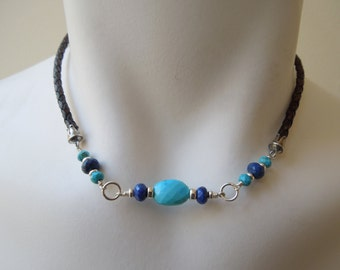 Blue Gemstone Necklace- Turquoise, Lapis Lazuli, Leather, Sterling Silver, December Birthstone