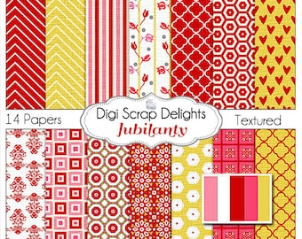 Valentine Digital Papers in Red, Pink, and Yellow Gold, Chevron, Quatrefoil, Damask, Hearts, Instant Download