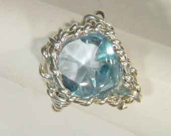 Sterling Silver Wire Wrapped Faceted Blue Topaz Ring (Size 5)    3480E abe