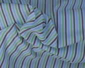Green, Brown, and Blue Cotton Stripe Fabric, 1 Yard