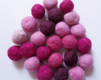 felted wool beads of pink, plum and fuschia--lot of 24