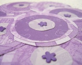 Purple Paper Flowers Scrapbook Page Embellishment for Card Making Craft Supplies Mixed Media Art  Floral Posies - Set of 10