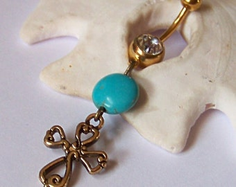 Gold Belly Button Ring - Belly Button Jewelry - Gold Belly Ring - Gold Cross with Magnesite Coin - Made to Order