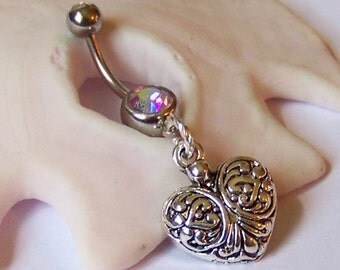 Belly Button Ring - Belly Button Jewelry - Navel Piercing - Fancy Heart Belly Ring - Choose Your Barbell Gem Color - Made to Order