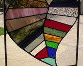 Stained Glass Herringbone Patchwork Heart Panel