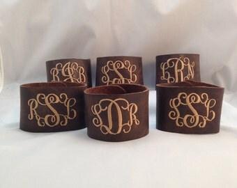 Monogrammed Bracelet, Leather Bracelet