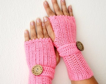 Pink with button Wool Fingerless Gloves Armwarmers Hand Knit Chic Winter Accessories Winter Fashion