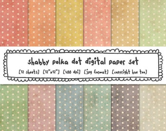 polka dot digital backgrounds, shabby polka dot pattern grunge texture, vintage pastel colors digital paper instant download 526
