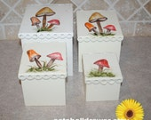 mushroom canisters hand painted nesting, graduated nesting metal containers, kitchen storage ~