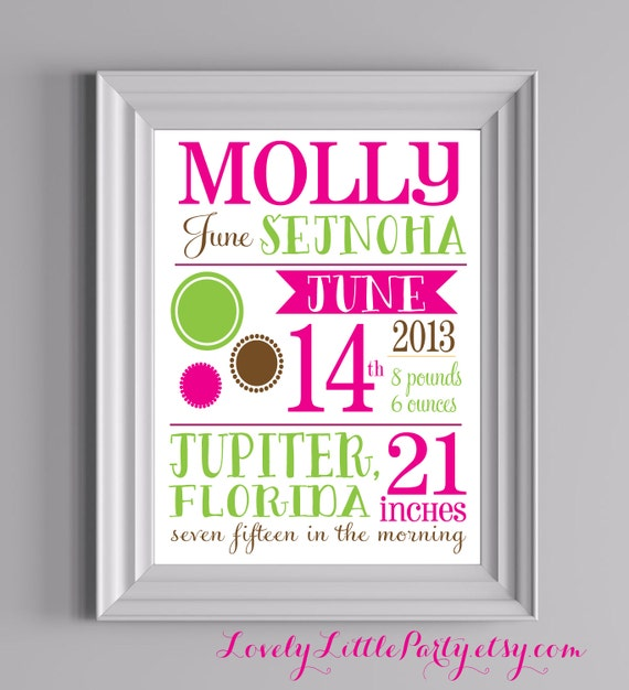 "Customized Dot Theme Nursery Print - 8""x10"" - LOVELY LITTLE PARTY"