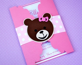 Cute Custom Gate Fold Teddy Bear Invitations - set of 12