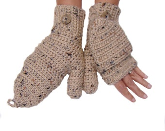 Convertible Fingerless Mittens, Buff Fleck Texting Mittens, Fingerless Gloves, Convertible Gloves, Crochet Mittens, Fingerless Mittens