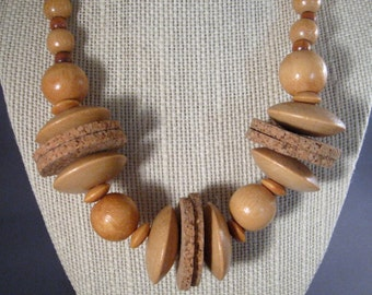 Summer Necklace Vintage Wood and Cork 1980s Beach Wear/ Natural Materials/ LightWeight