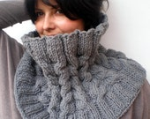 Romina Braided  Cowl  Soft mixed Wool Neckwarmer  Fashion Texture  Grey Cabled Big Cowl NEW